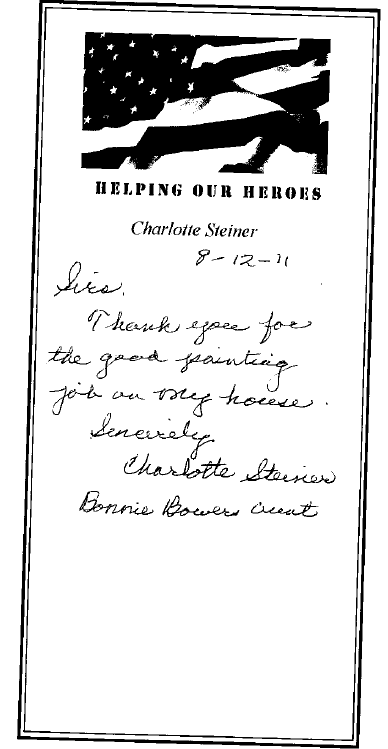 Bonnie Bower's thank you note